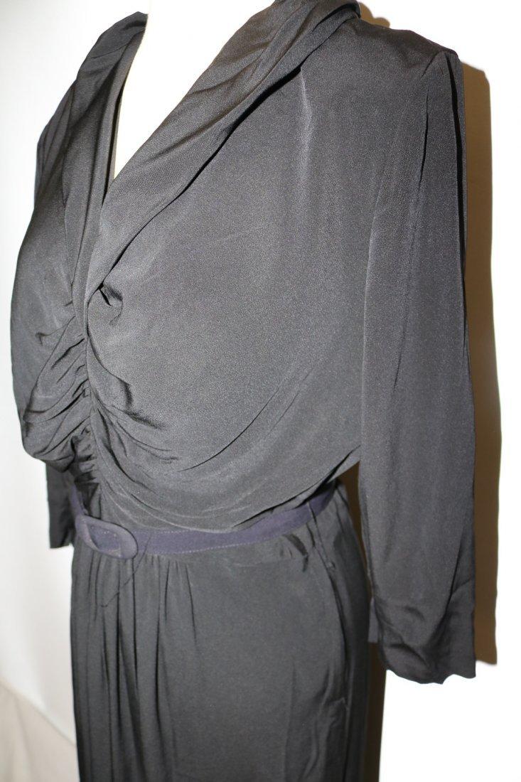 1940's Black Rayon Long Sleeve Dress - 3