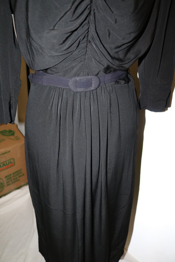 1940's Black Rayon Long Sleeve Dress - 4