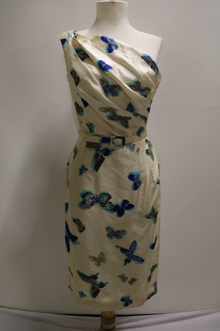 1960's Silk one Shoulder Butterfly Print Dress with