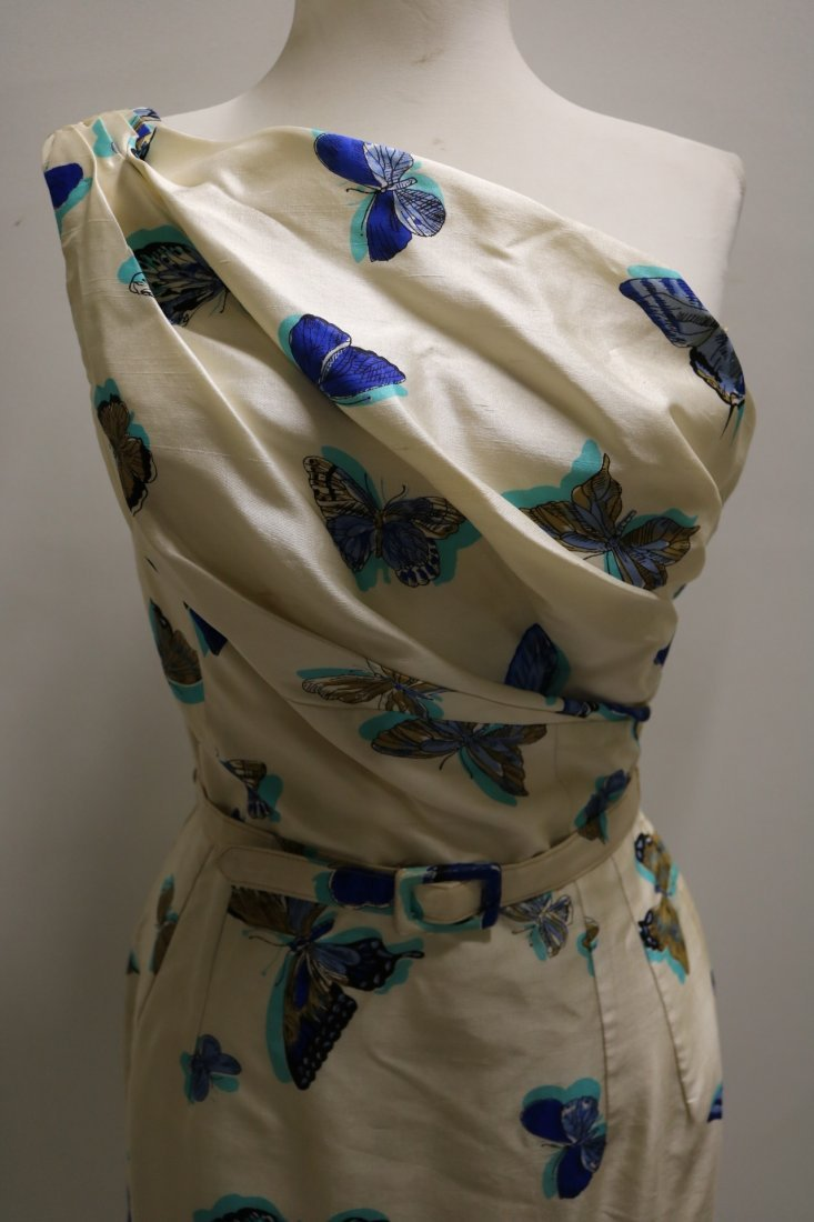 1960's Silk one Shoulder Butterfly Print Dress with - 2