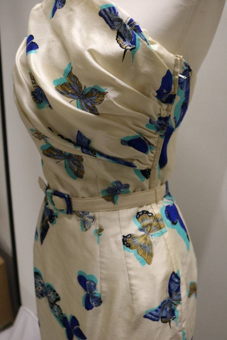 1960's Silk one Shoulder Butterfly Print Dress with - 3