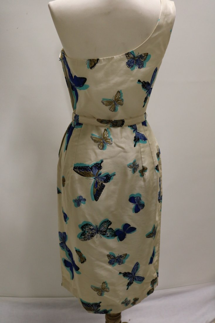 1960's Silk one Shoulder Butterfly Print Dress with - 5