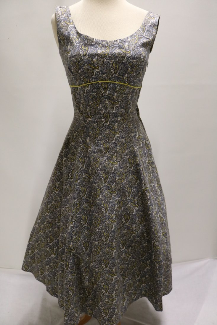 late 1940's Cotton Paisley Print Fit to Flare Dress