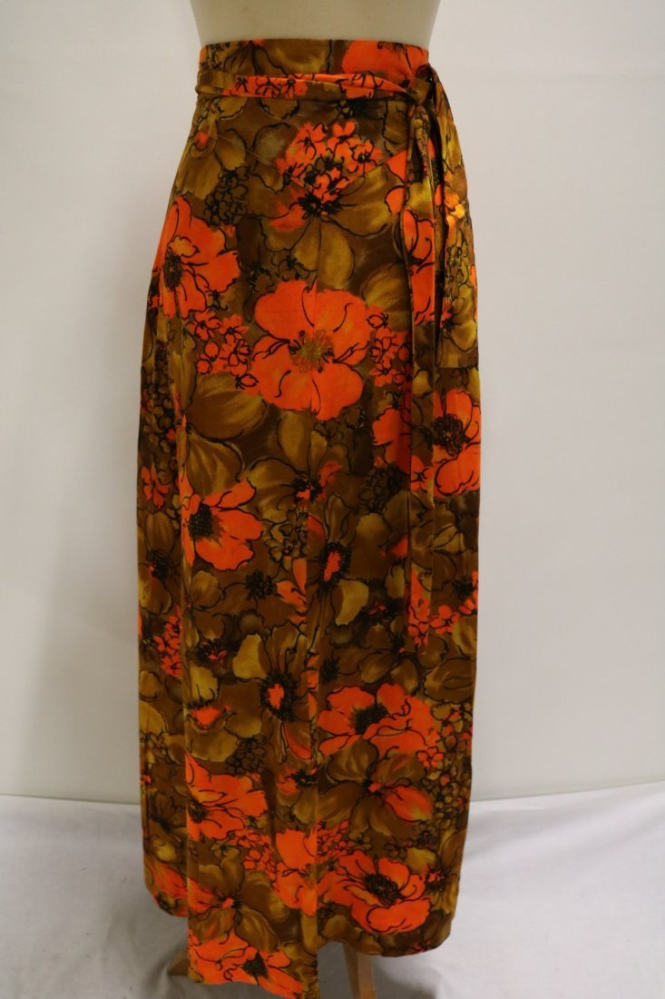 1960's Floral Maxi Wrap Skirt - 4