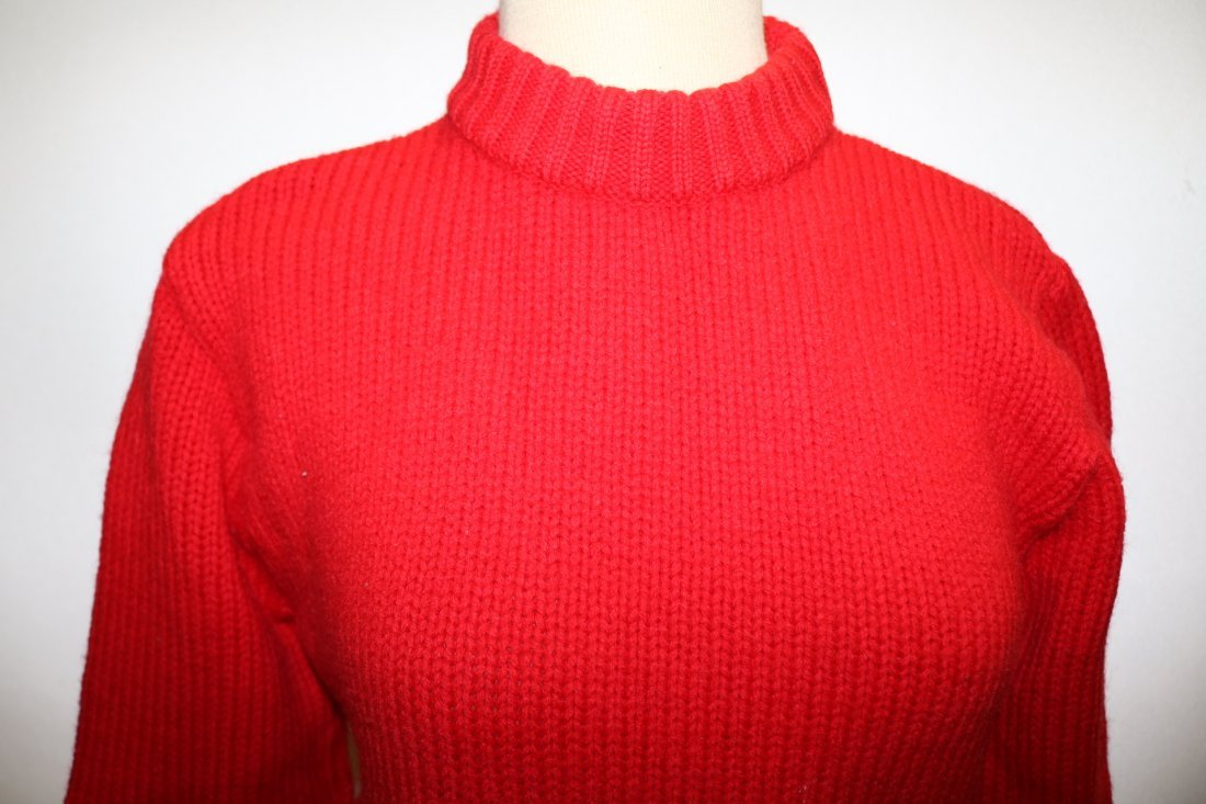 Ladies Vintage Red Wool Knit Sweater by Garland - 2