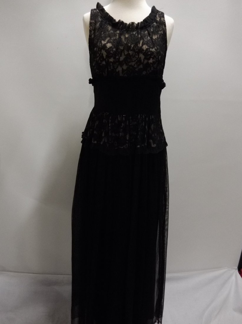 Vintage 1930's Black Rayon and Lace Gown