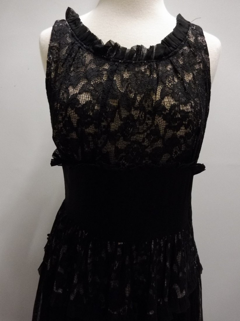 Vintage 1930's Black Rayon and Lace Gown - 2
