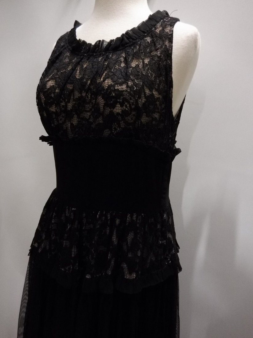 Vintage 1930's Black Rayon and Lace Gown - 3