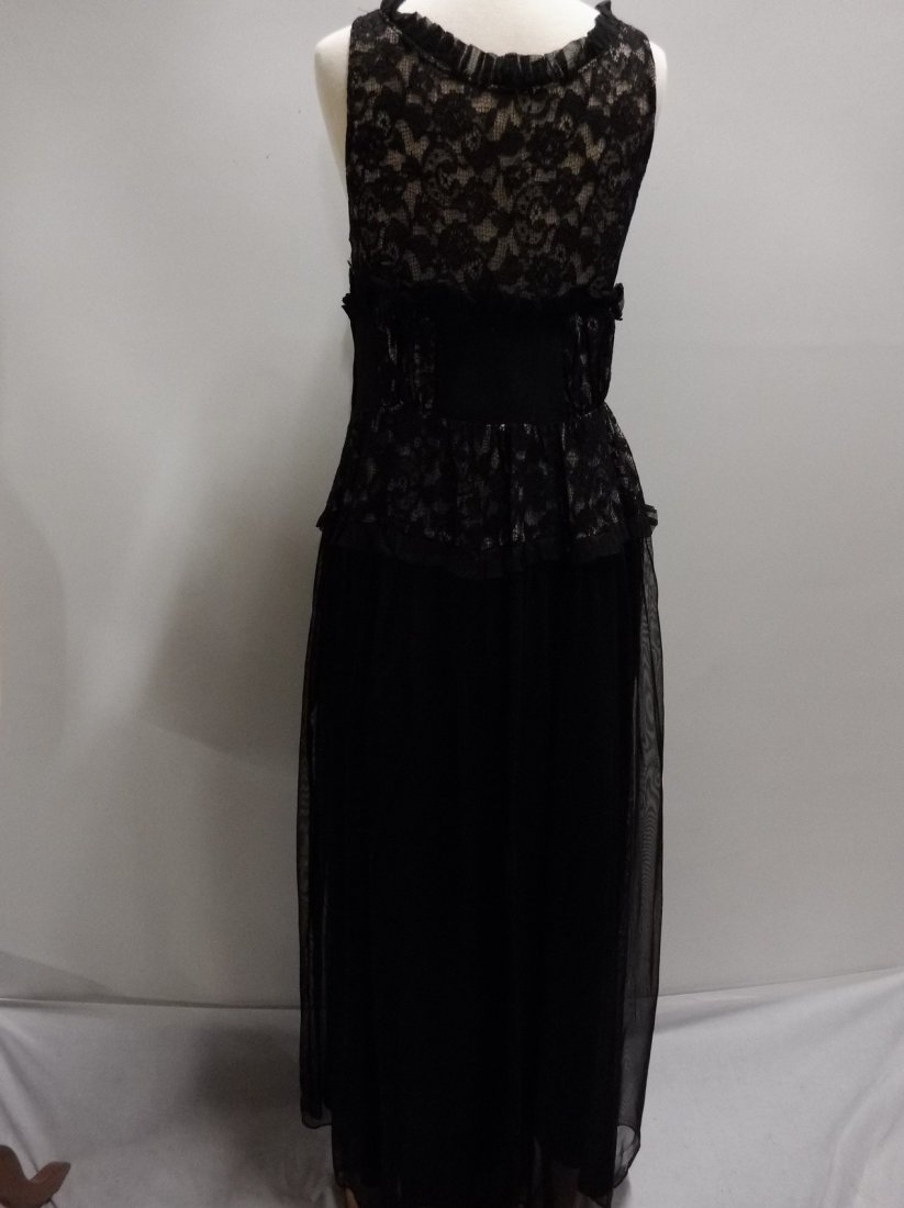 Vintage 1930's Black Rayon and Lace Gown - 4