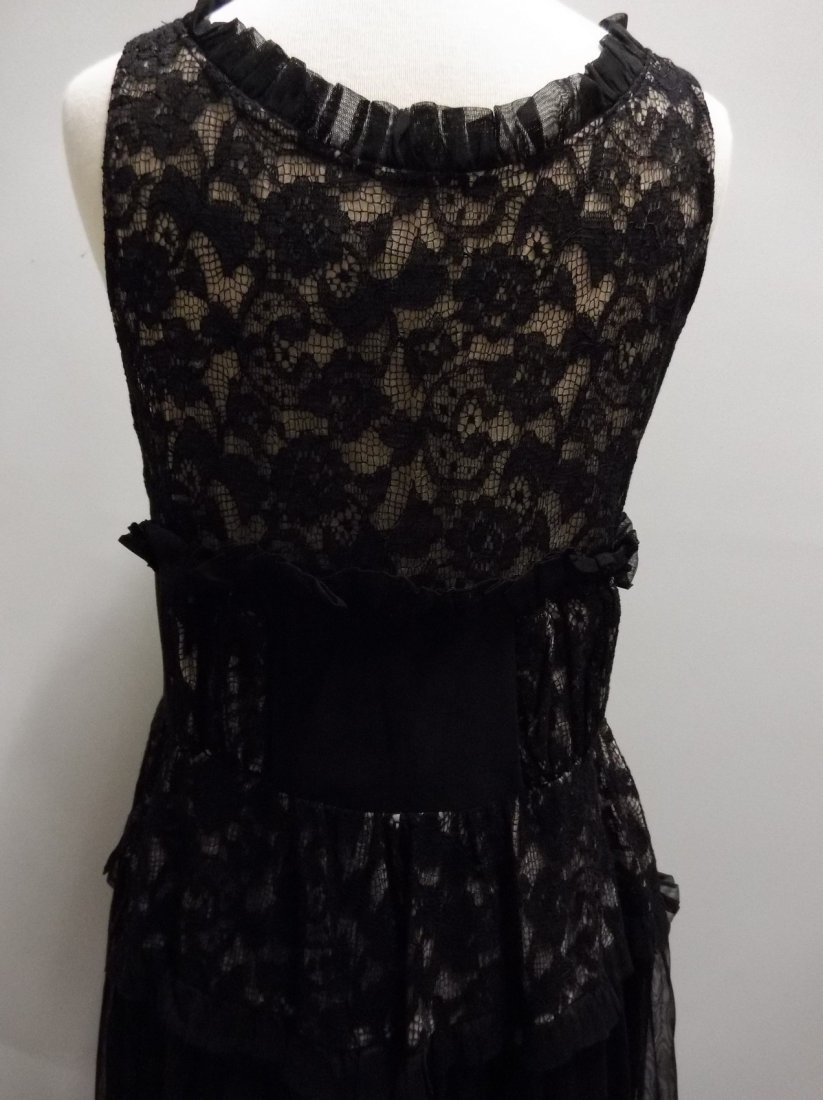 Vintage 1930's Black Rayon and Lace Gown - 5