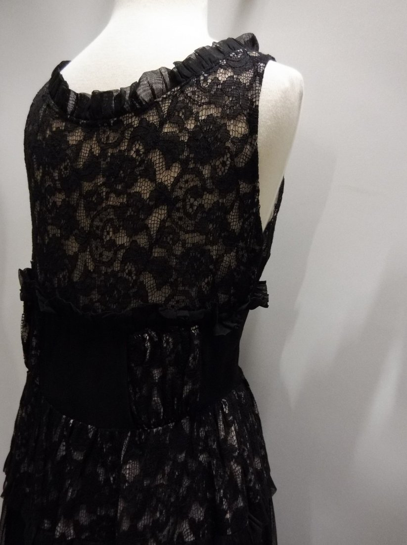 Vintage 1930's Black Rayon and Lace Gown - 6
