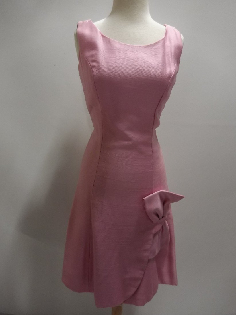 1960's Pink Classic Cocktail/Party Dress with large