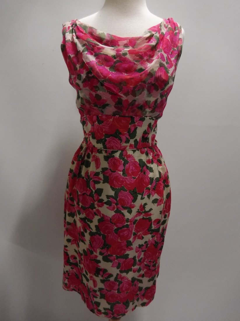 1960's Pink Floral Silk Chiffon Dress with Draped front