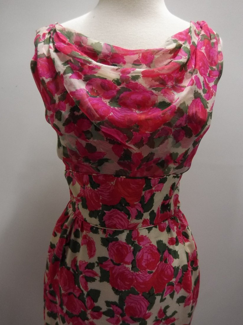 1960's Pink Floral Silk Chiffon Dress with Draped front - 2