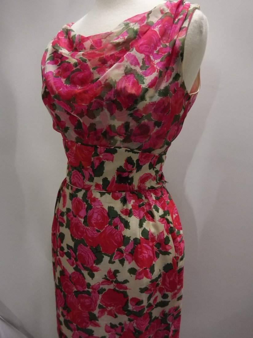 1960's Pink Floral Silk Chiffon Dress with Draped front - 3