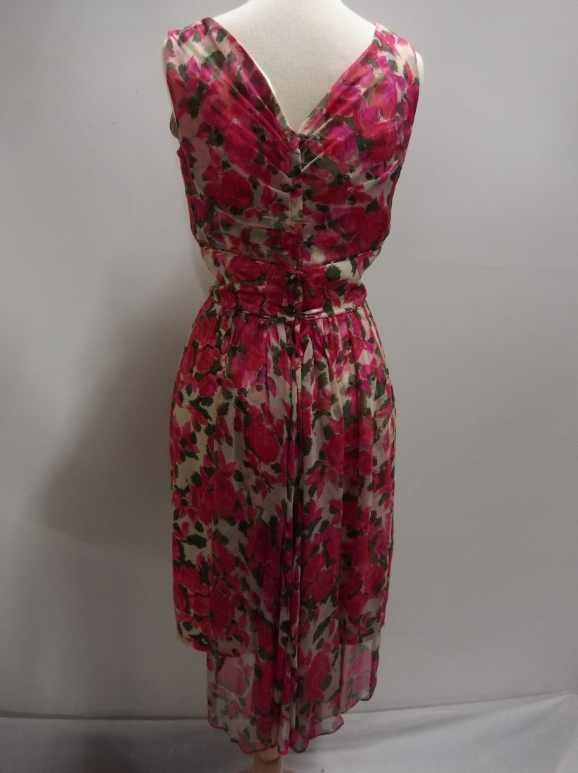 1960's Pink Floral Silk Chiffon Dress with Draped front - 4