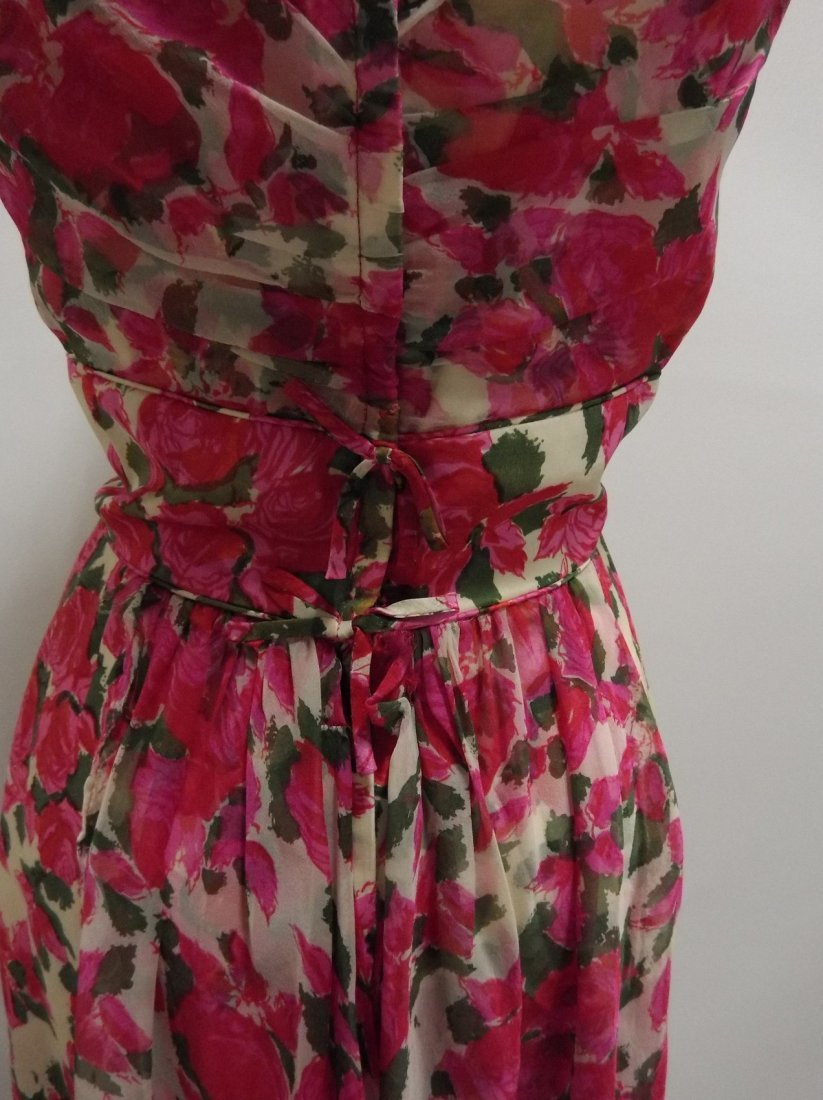 1960's Pink Floral Silk Chiffon Dress with Draped front - 6