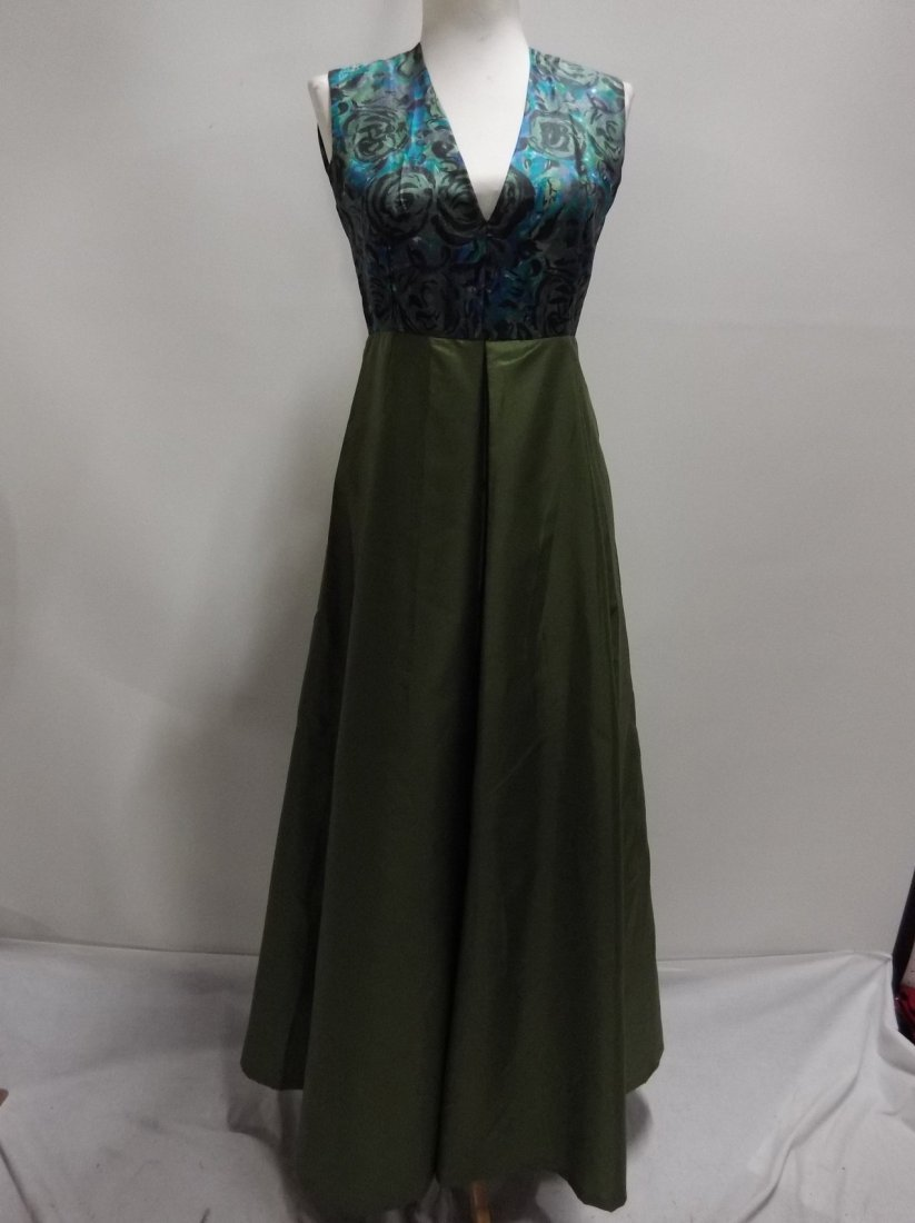 1960/70's Green Acetate with Silk Bodice Full Length