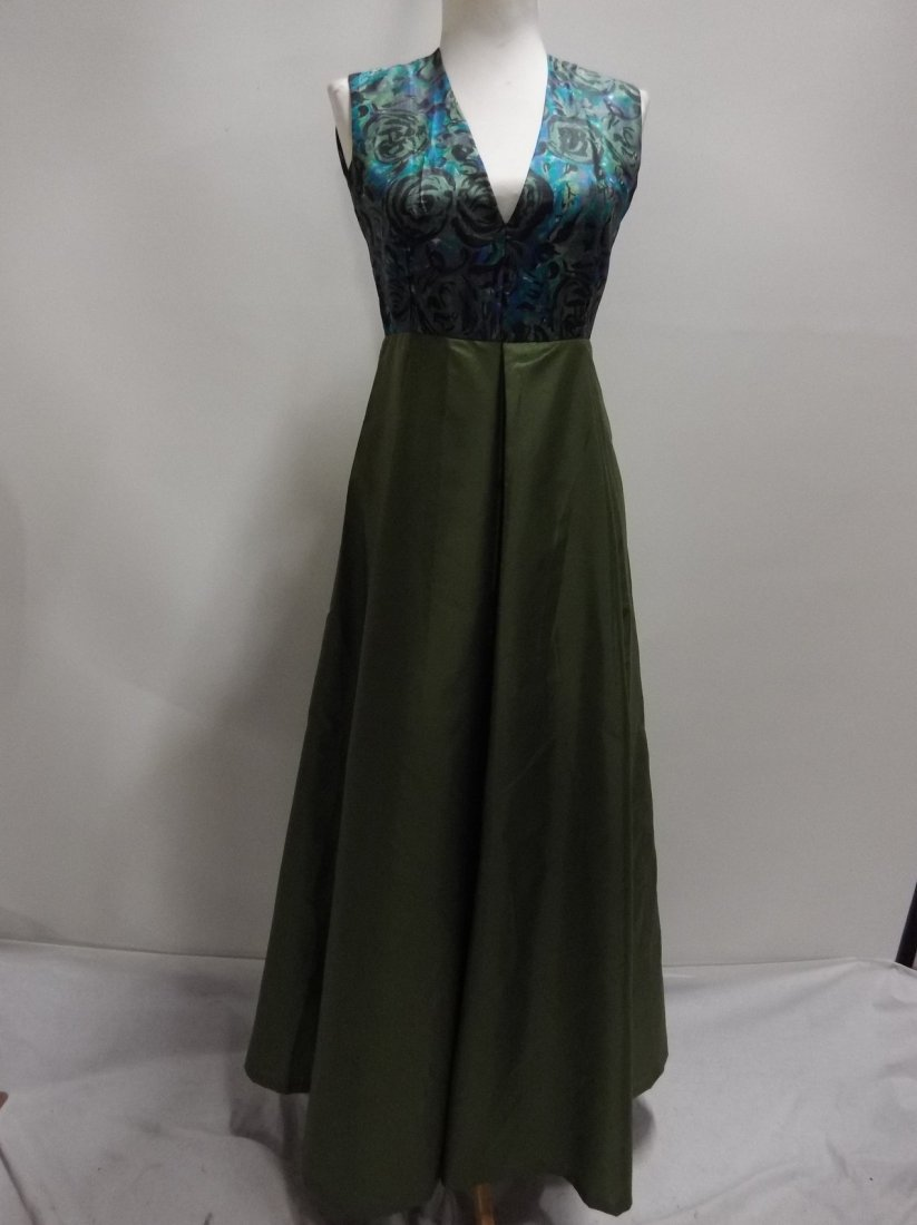 1960/70's Green Acetate with Silk Bodice Full Length - 2