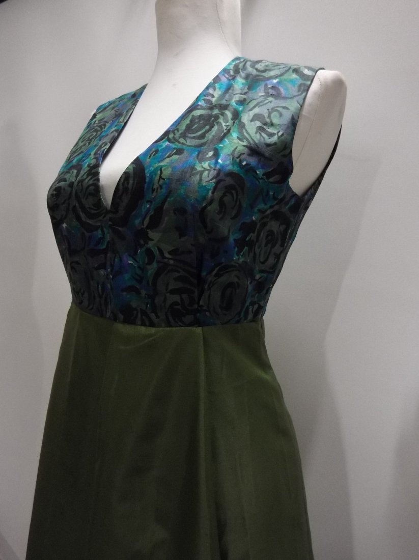 1960/70's Green Acetate with Silk Bodice Full Length - 4