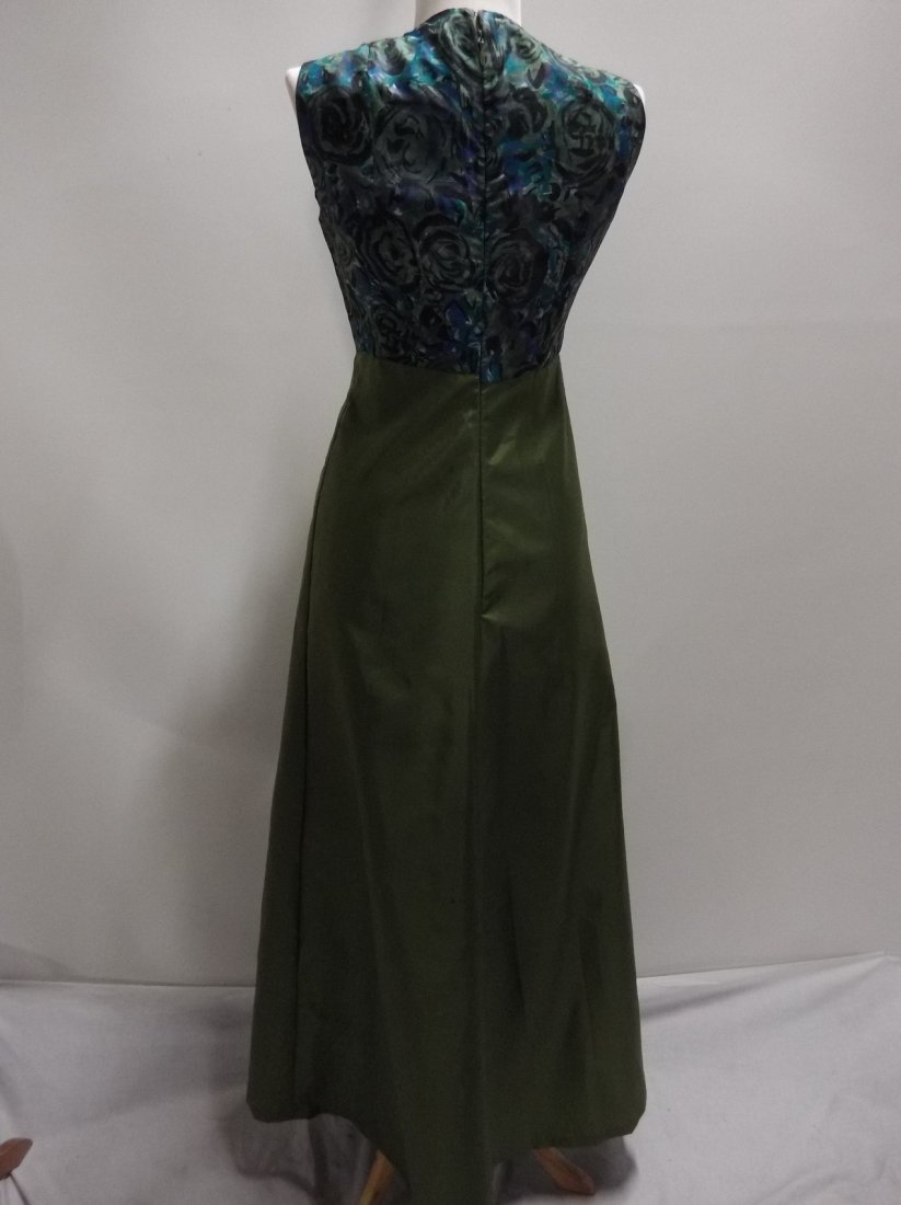 1960/70's Green Acetate with Silk Bodice Full Length - 5