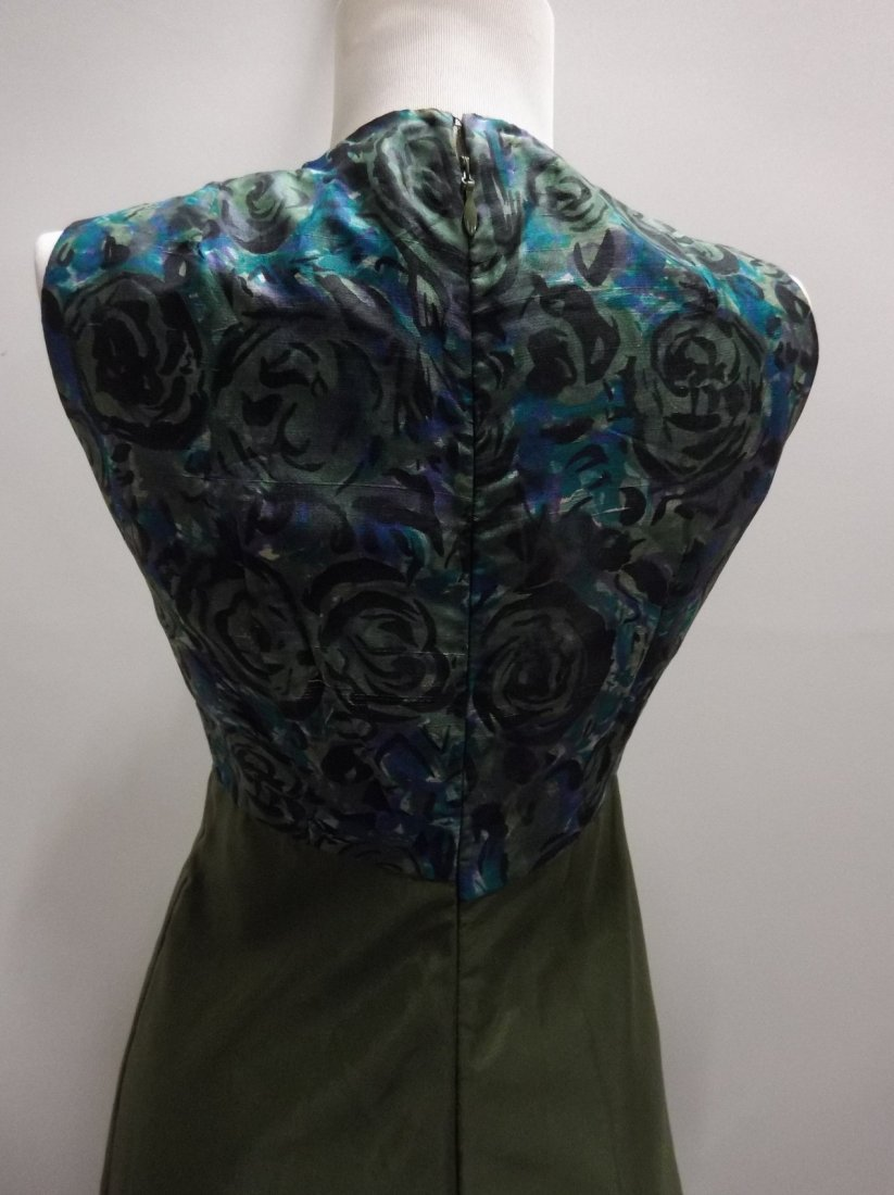 1960/70's Green Acetate with Silk Bodice Full Length - 6