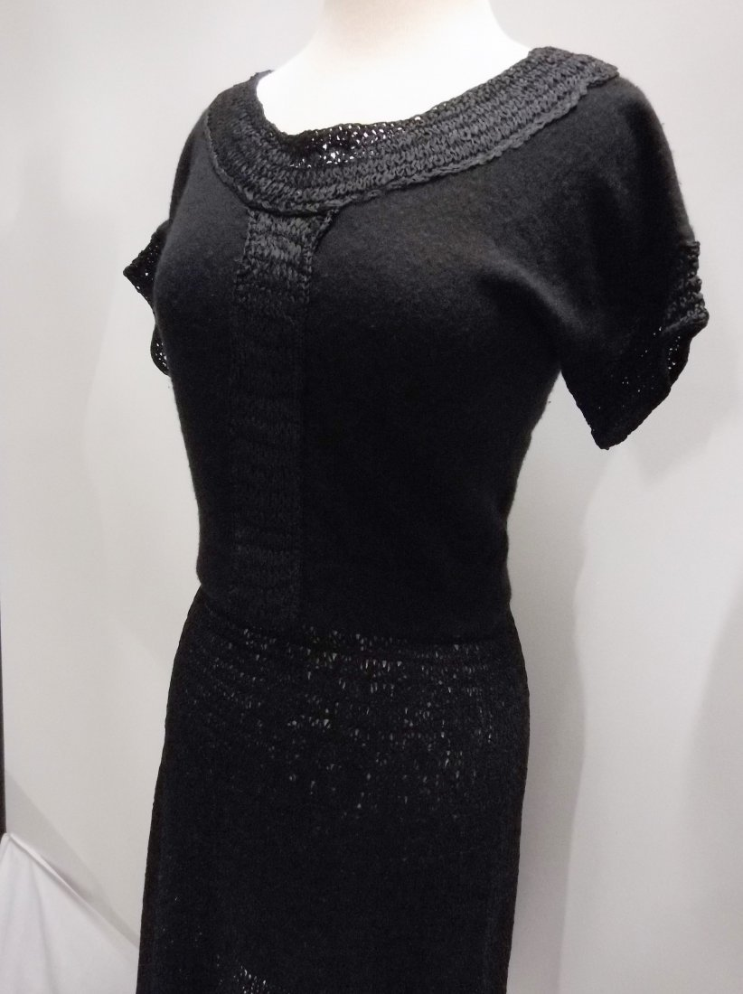 1940's 2 piece Knitted Skirt & Cashmere Top in Black by - 3