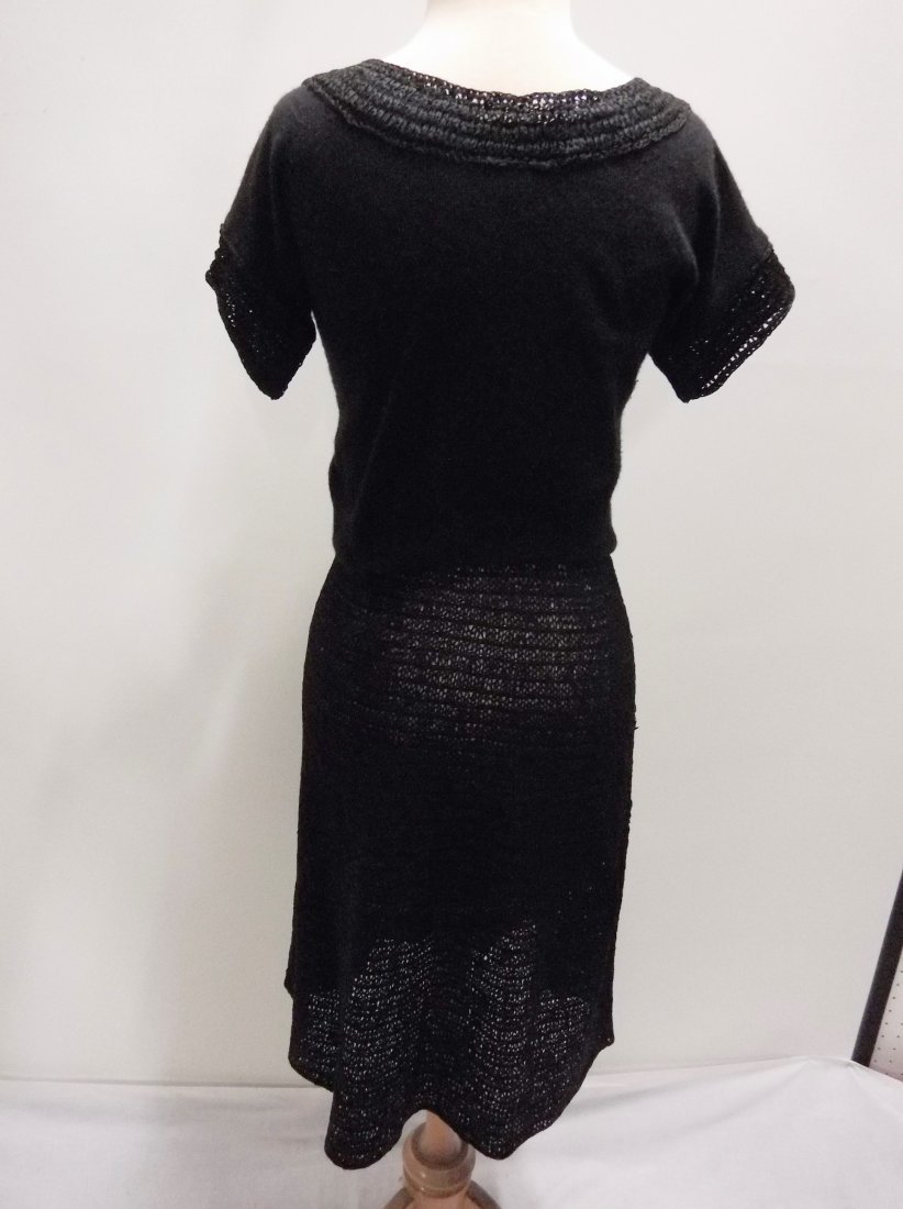 1940's 2 piece Knitted Skirt & Cashmere Top in Black by - 4