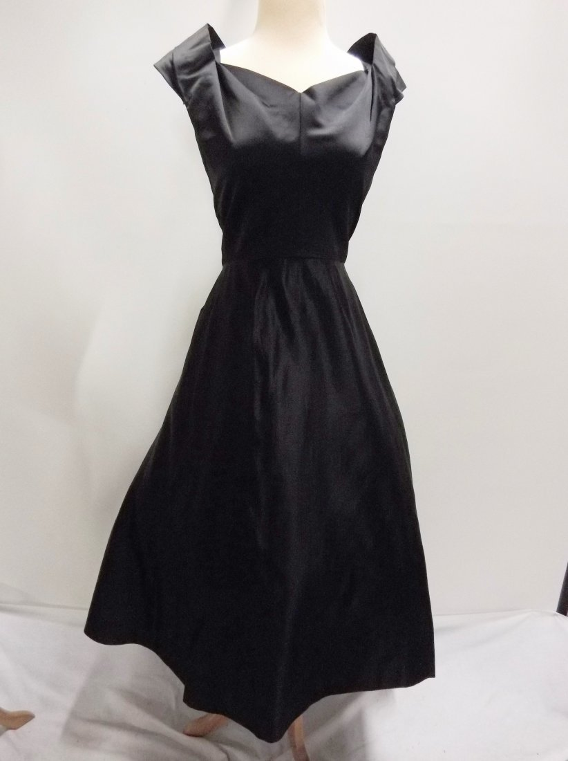 1950's Black Satin Fit to Flare Tea Length