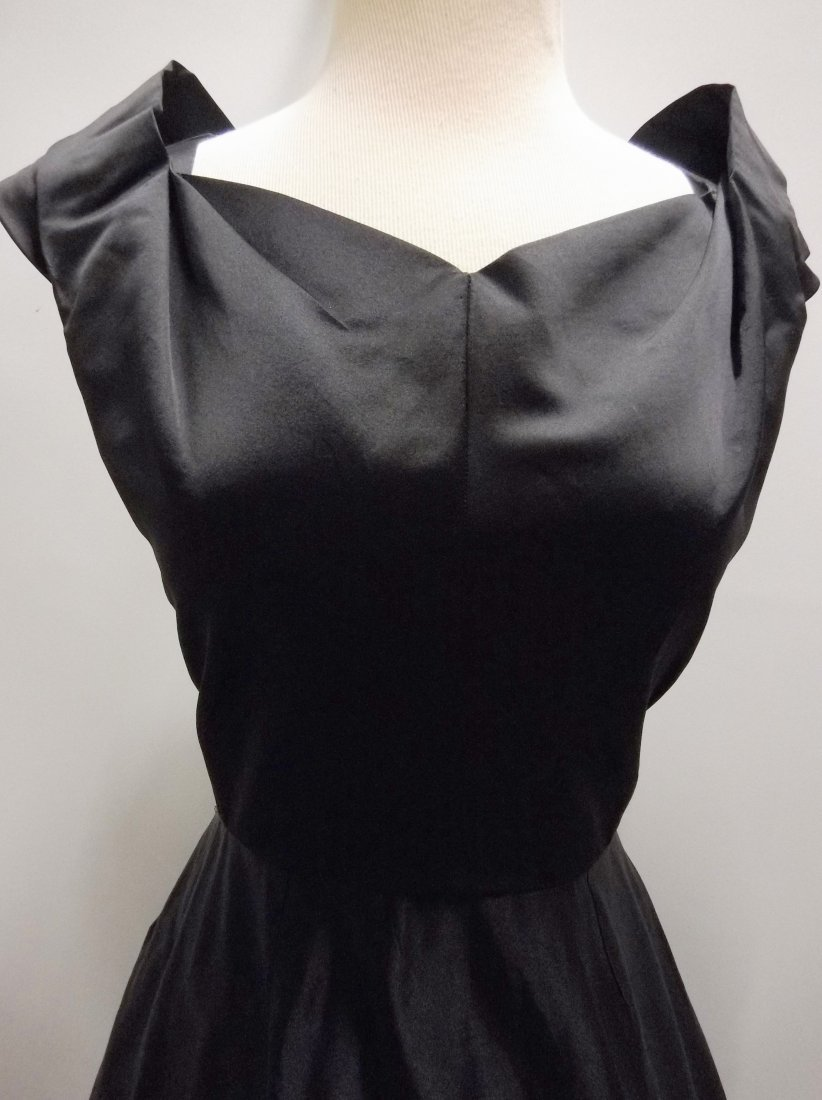 1950's Black Satin Fit to Flare Tea Length - 2