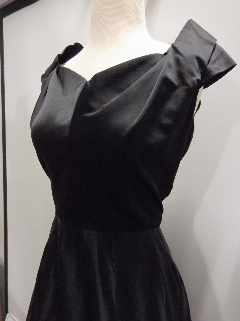 1950's Black Satin Fit to Flare Tea Length - 3