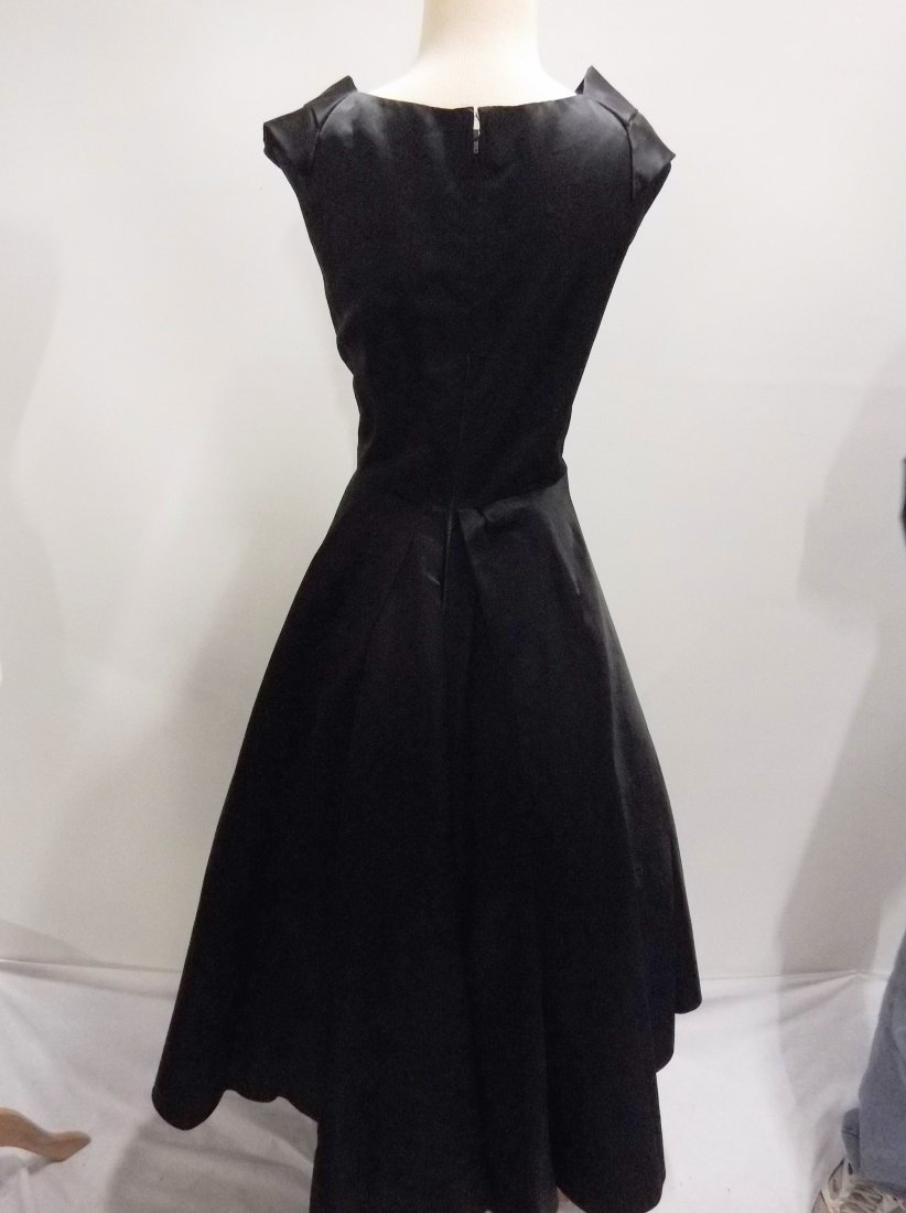 1950's Black Satin Fit to Flare Tea Length - 4