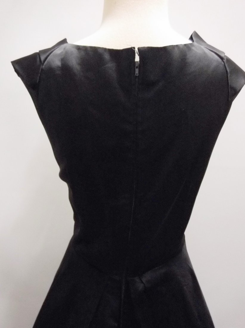 1950's Black Satin Fit to Flare Tea Length - 5