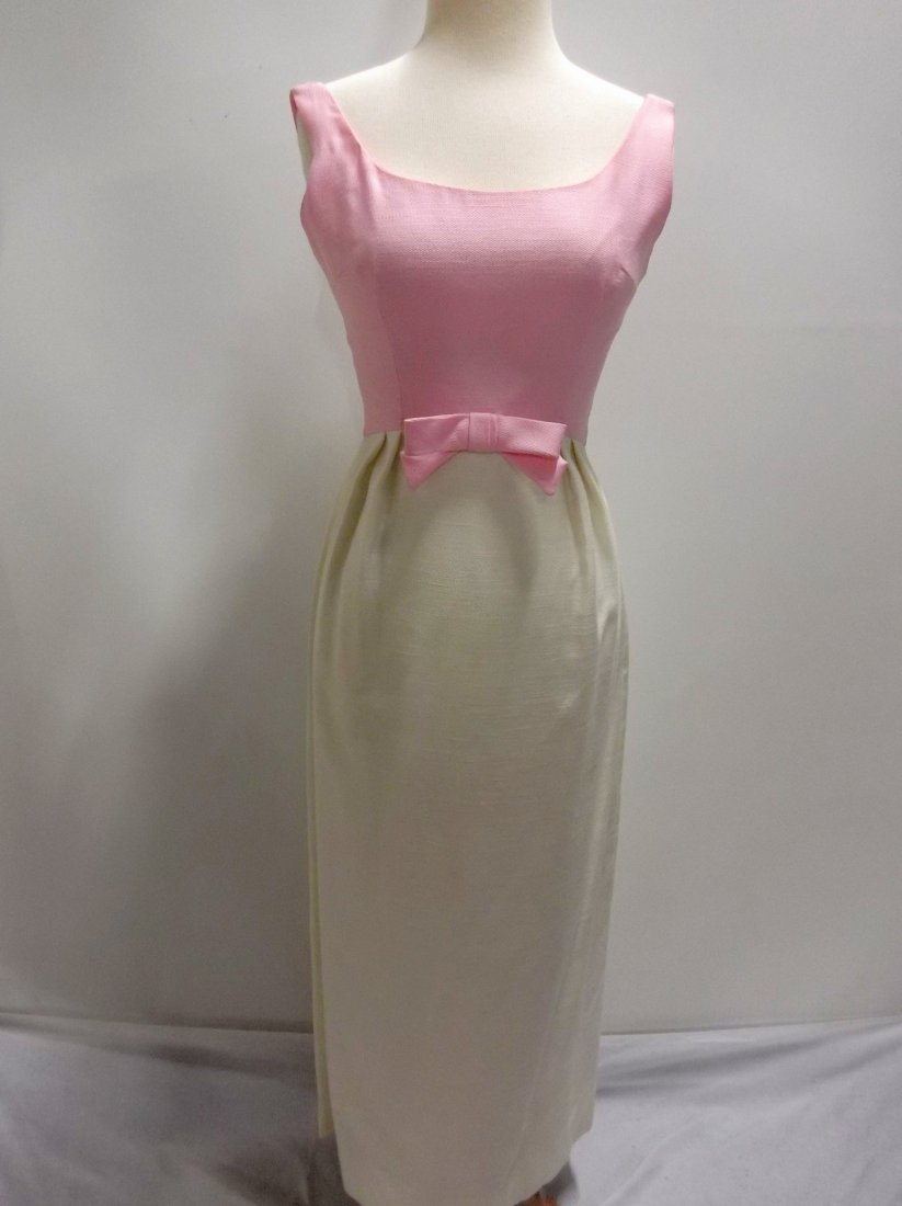 Pink & White 1960's Linen Classic Gown