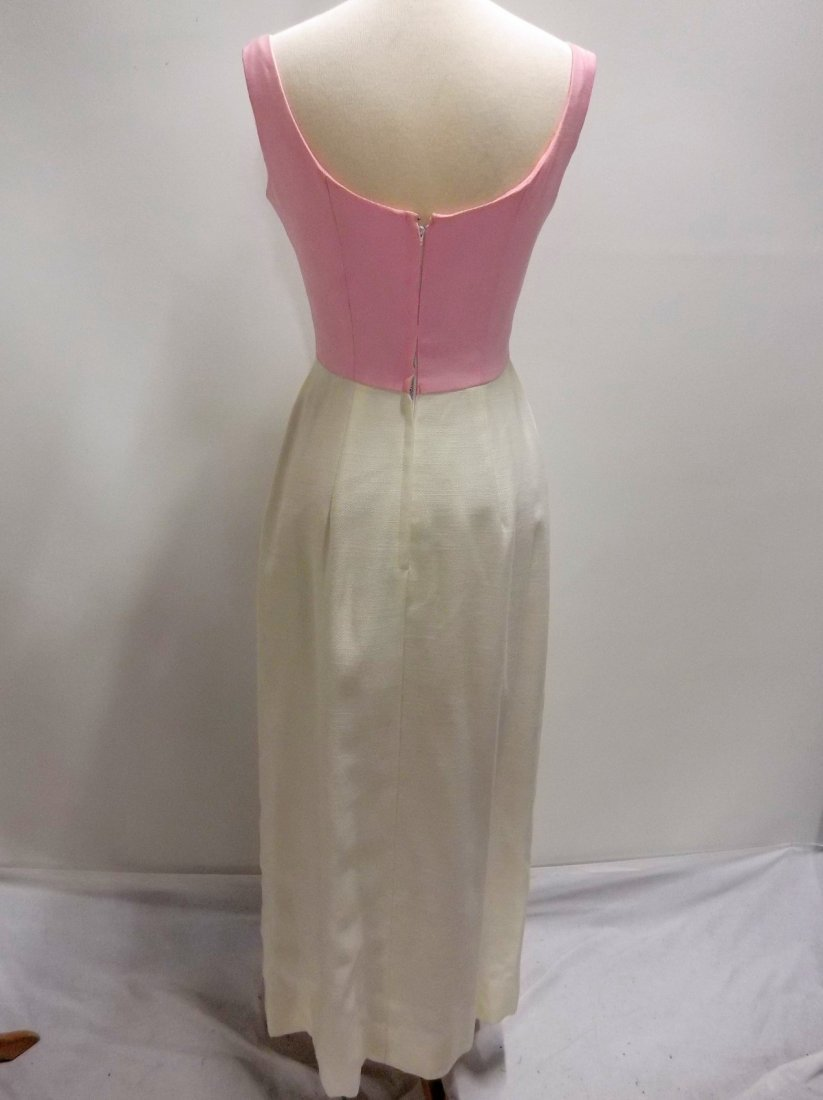 Pink & White 1960's Linen Classic Gown - 4