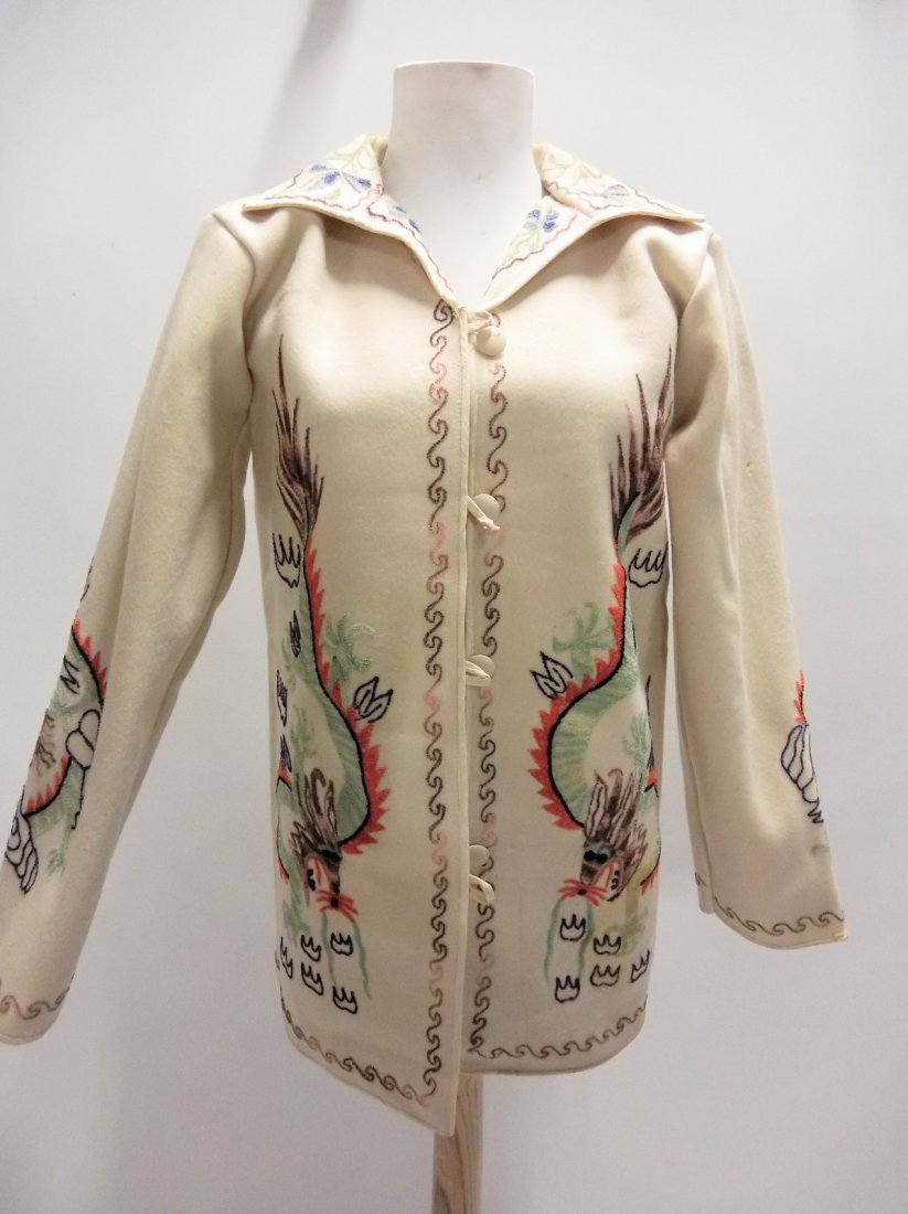 vintage 1940s 1950s embroidered wool novelty jacket
