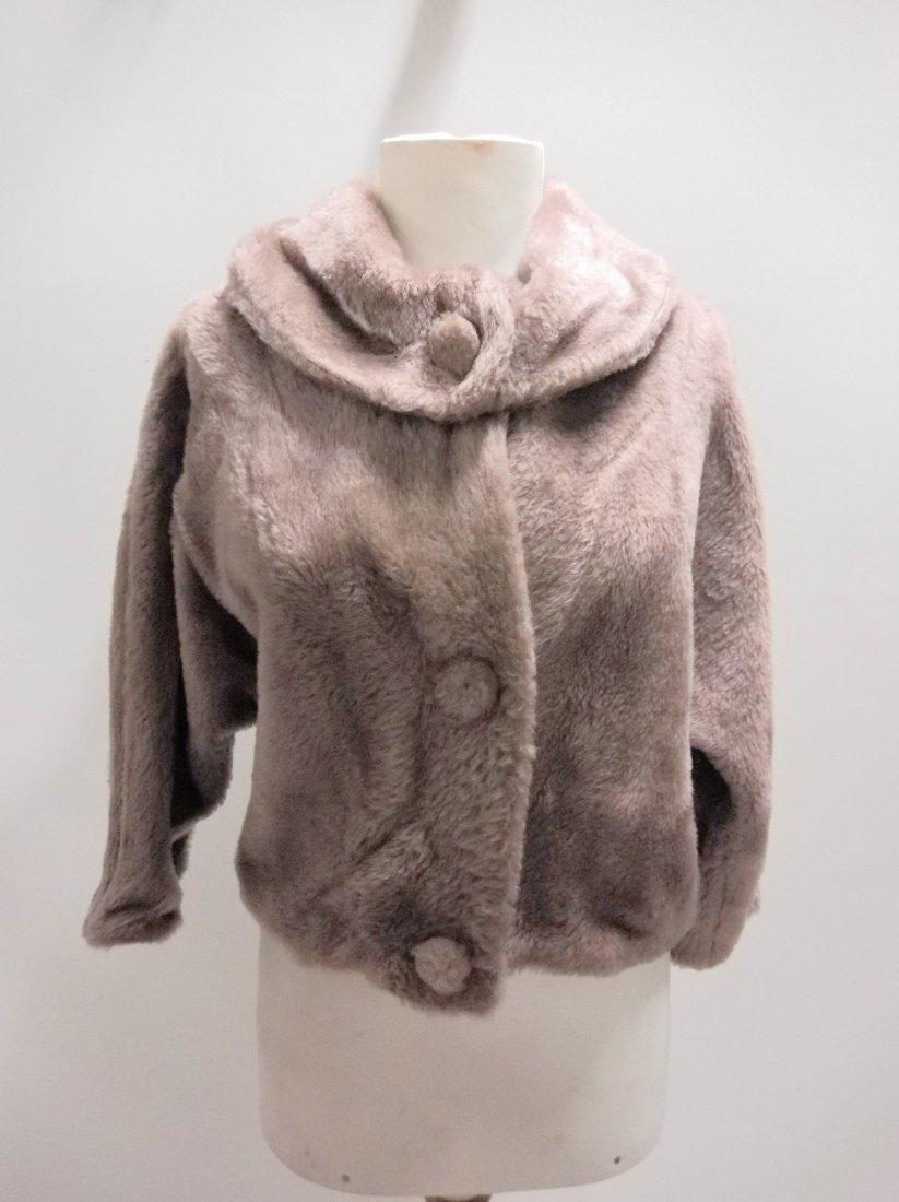 vintage 1950s faux fur jacket bolero dove gray