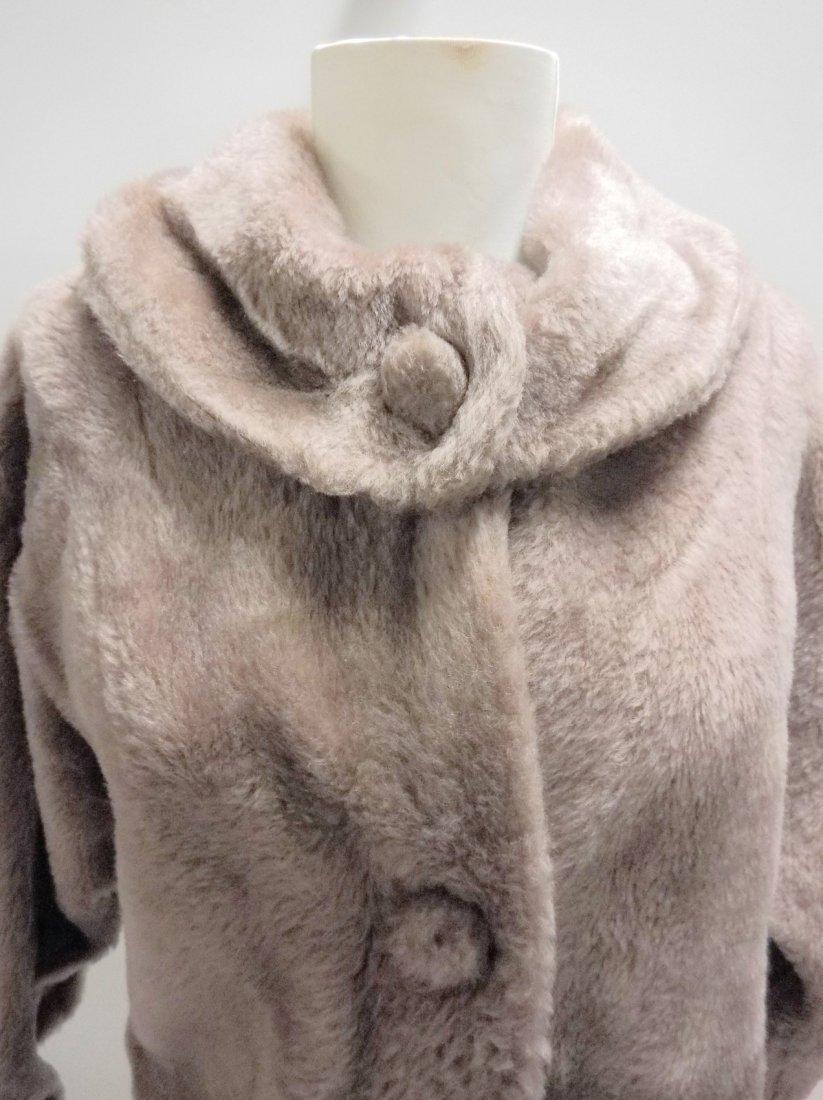 vintage 1950s faux fur jacket bolero dove gray - 2