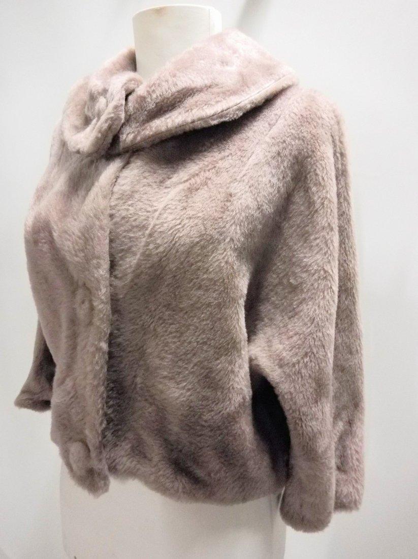 vintage 1950s faux fur jacket bolero dove gray - 3