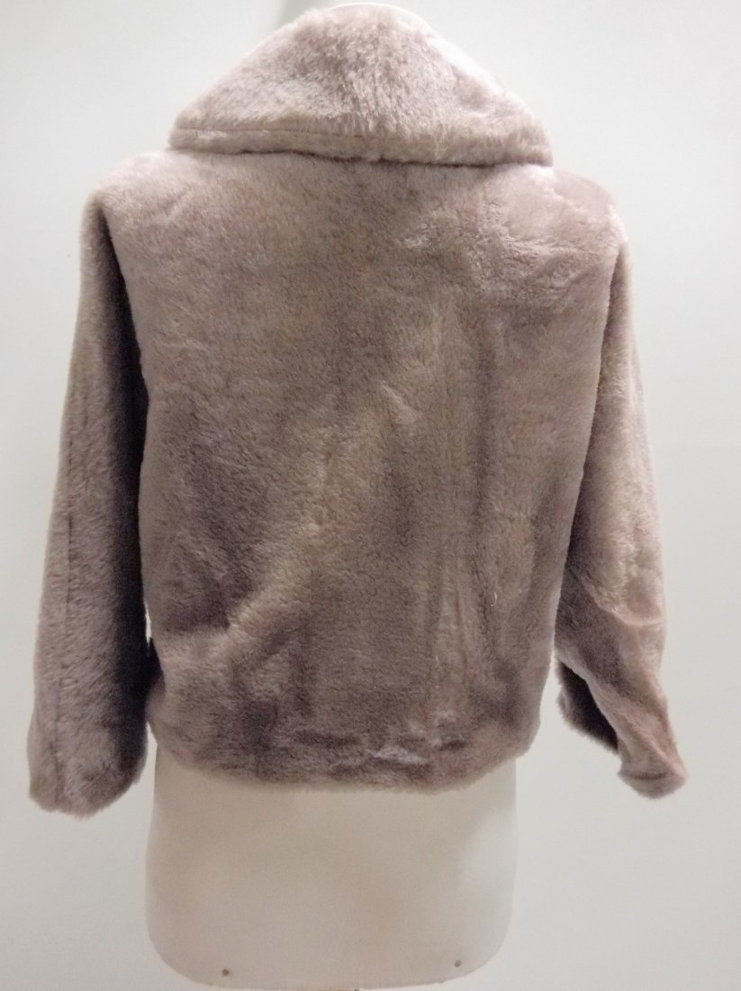 vintage 1950s faux fur jacket bolero dove gray - 4