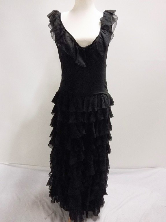 vintage 1920s black silk chiffon gown with deeply