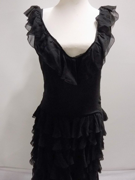 vintage 1920s black silk chiffon gown with deeply - 2