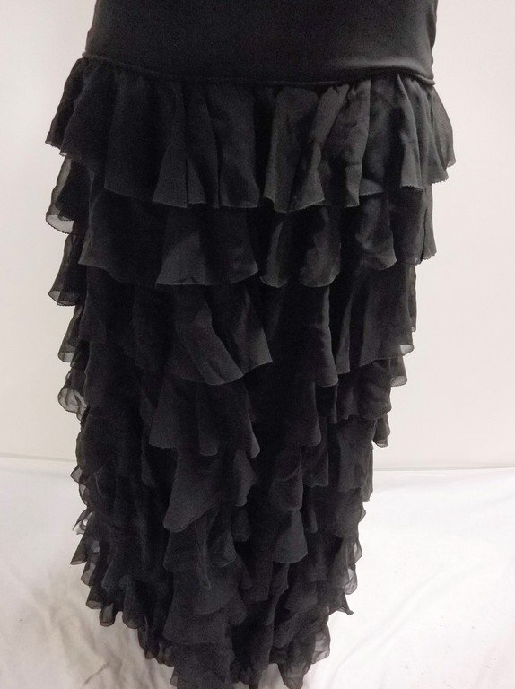 vintage 1920s black silk chiffon gown with deeply - 3