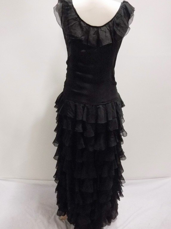 vintage 1920s black silk chiffon gown with deeply - 5