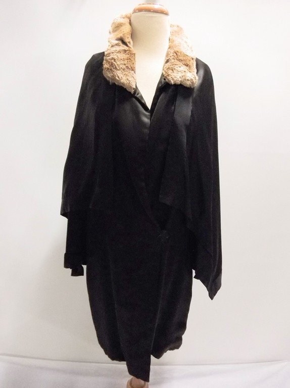 vintage 1920s black silk coat with cape bodice and