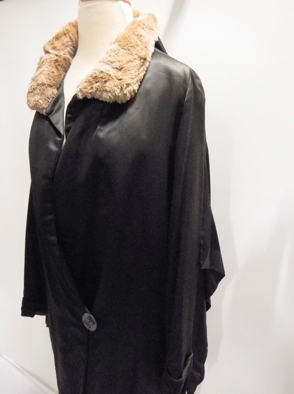 vintage 1920s black silk coat with cape bodice and - 5