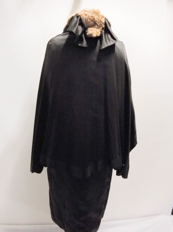 vintage 1920s black silk coat with cape bodice and - 6