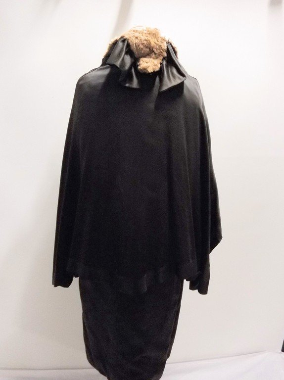 vintage 1920s black silk coat with cape bodice and - 7