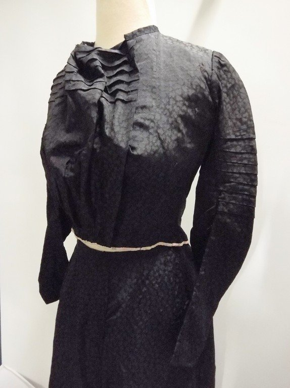 Victorian 1900s 1910s black silk bodice and skirt - 2