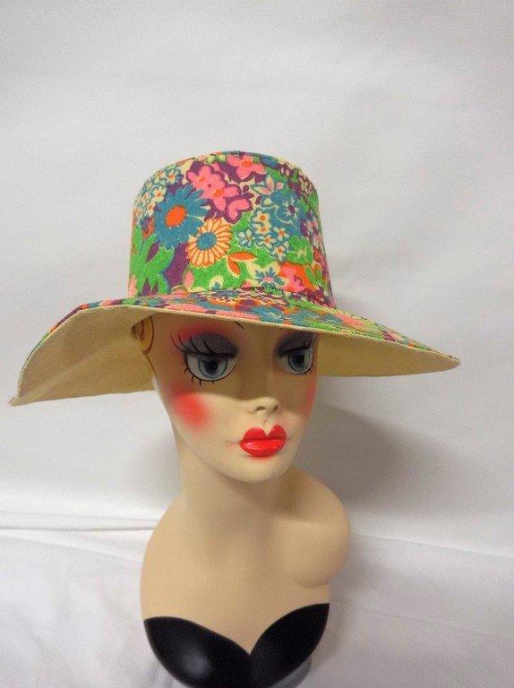 vintage 1960s paper hat flowered floral mod groovy - 2